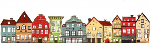 drawing depicting a row of houses