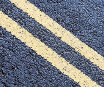 yellow Lines on road surface